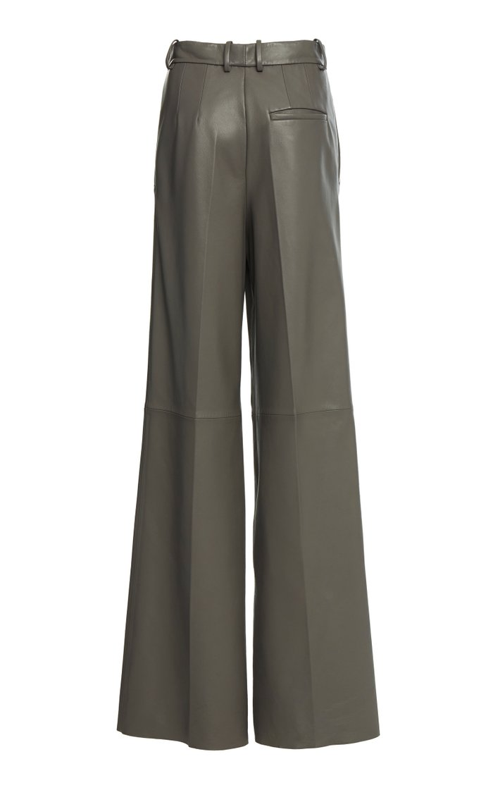 Tima Pleated Nappa Leather Wide-Leg Trousers