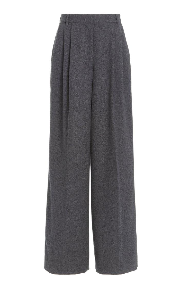 Tima Pleated Silk-Wool Flannel Wide-Leg Trousers