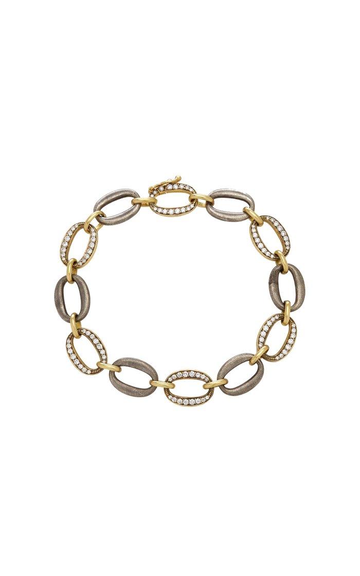 Diamond, Sterling Silver, 18K Yellow Gold Bracelet