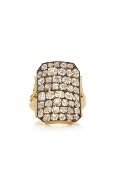 Ten Table Diamond 18K Yellow Gold Ring