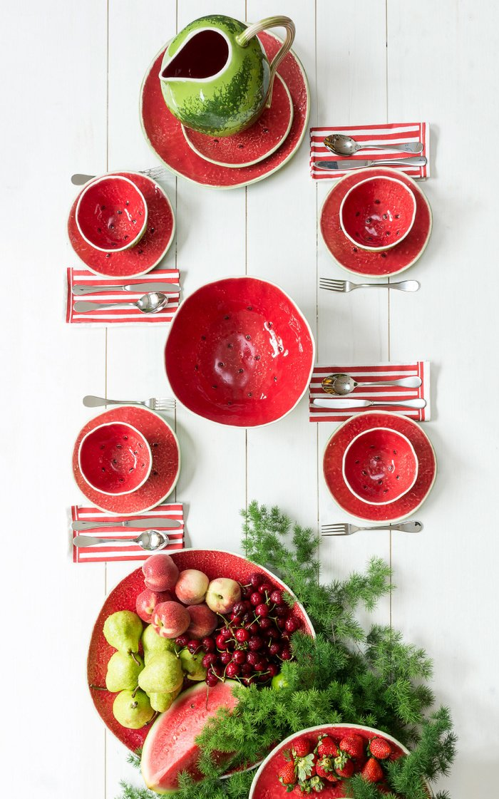 Set-Of-Two Watermelon Charger Plates