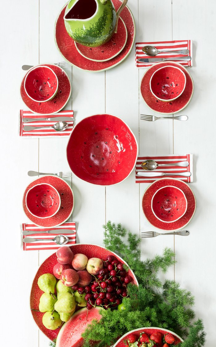 Set-Of-Four Watermelon Fruit Plates