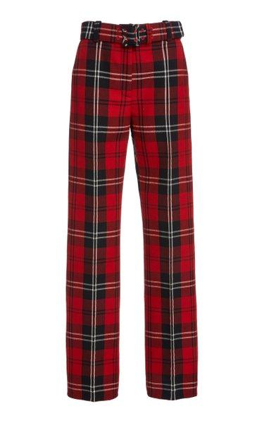 Plaid Wool-Blend Straight-Leg Pants