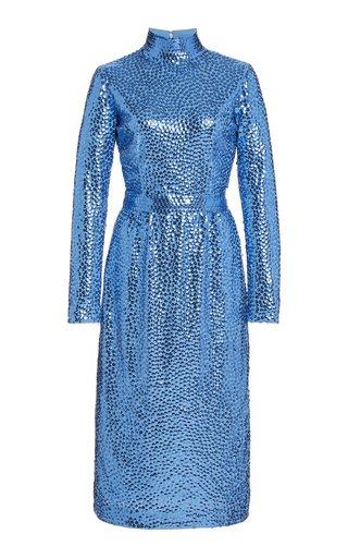 Sequined Jersey Turtleneck Dress