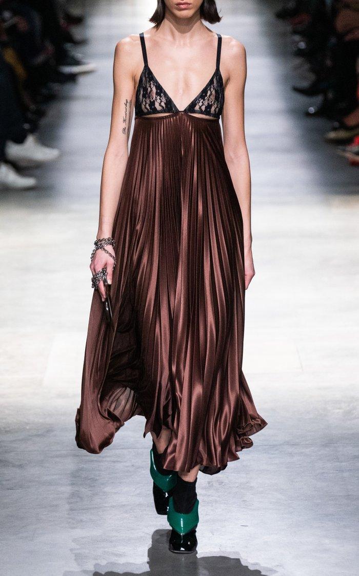 Lace-Panelled Pleated Satin Jersey Slip Dress