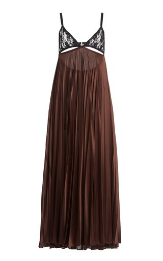 Lace-Panelled Pleated Satin Jersey Slip Dress