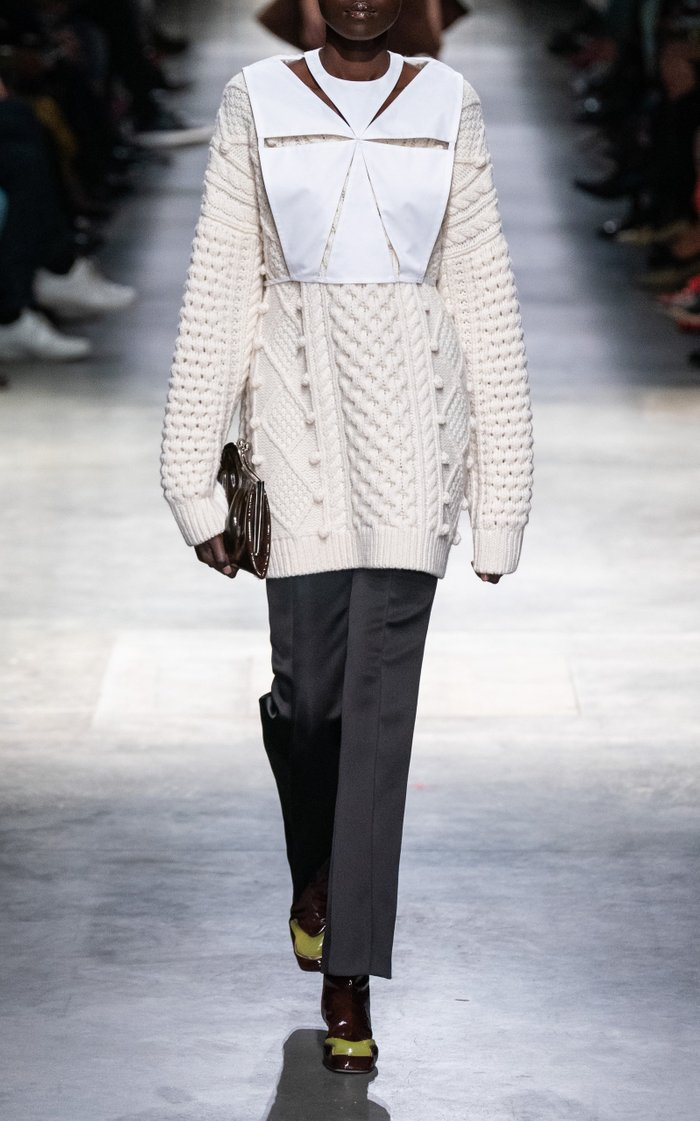Pom-Accented Wool-Blend Aran Knit Sweater