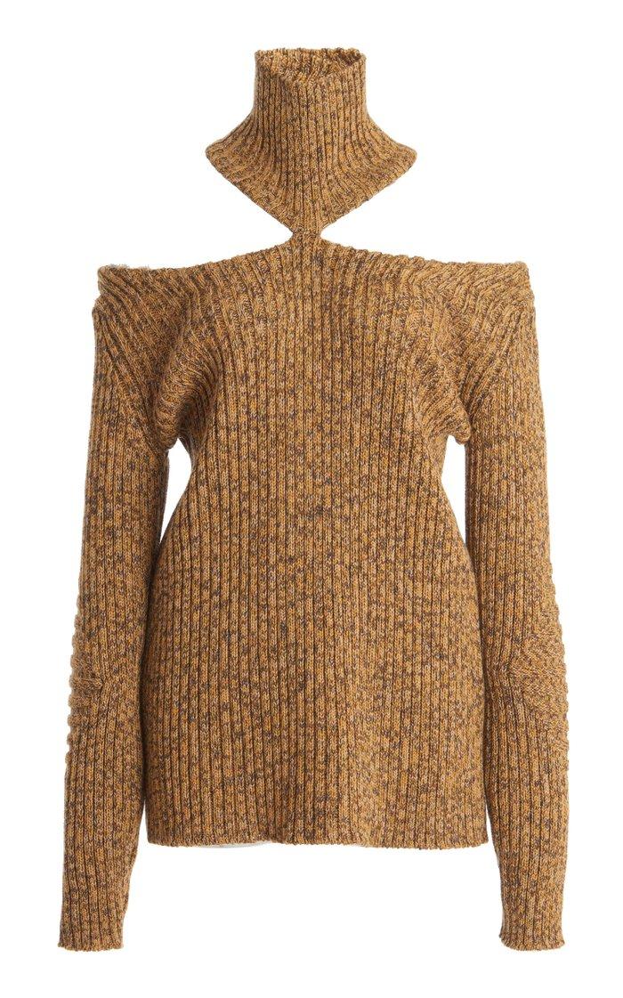 Merino Wool Cut-Out Turtleneck Sweater
