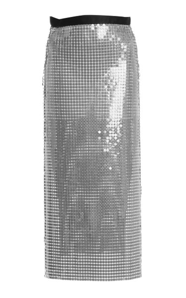 Chainmail-Embellished Midi Skirt