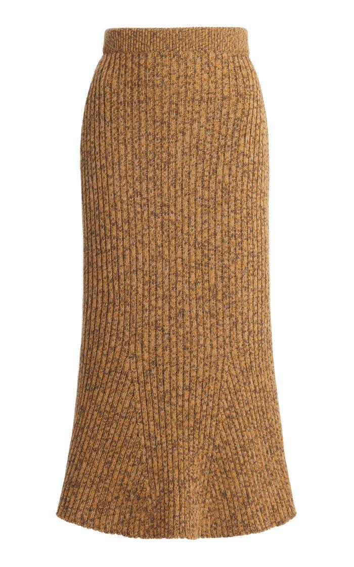 Ribbed Wool Fluted Midi Skirt