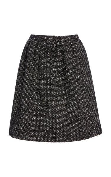 Gathered Wool-Boucle Skirt