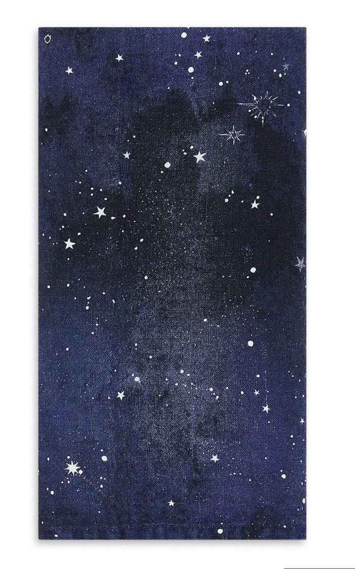 Set-Of-Four Constellation Printed Linen Napkins