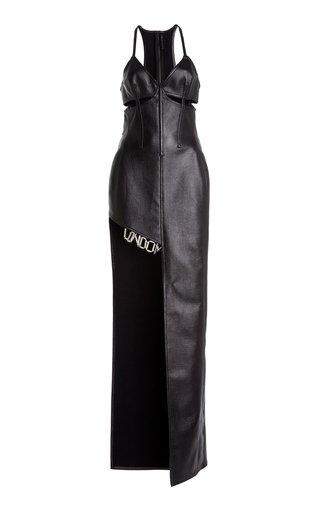 Asymmetric London Faux-Leather Gown