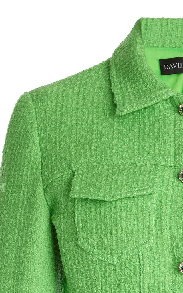Crystal-Embellished Boucle-Wool Cropped Jacket