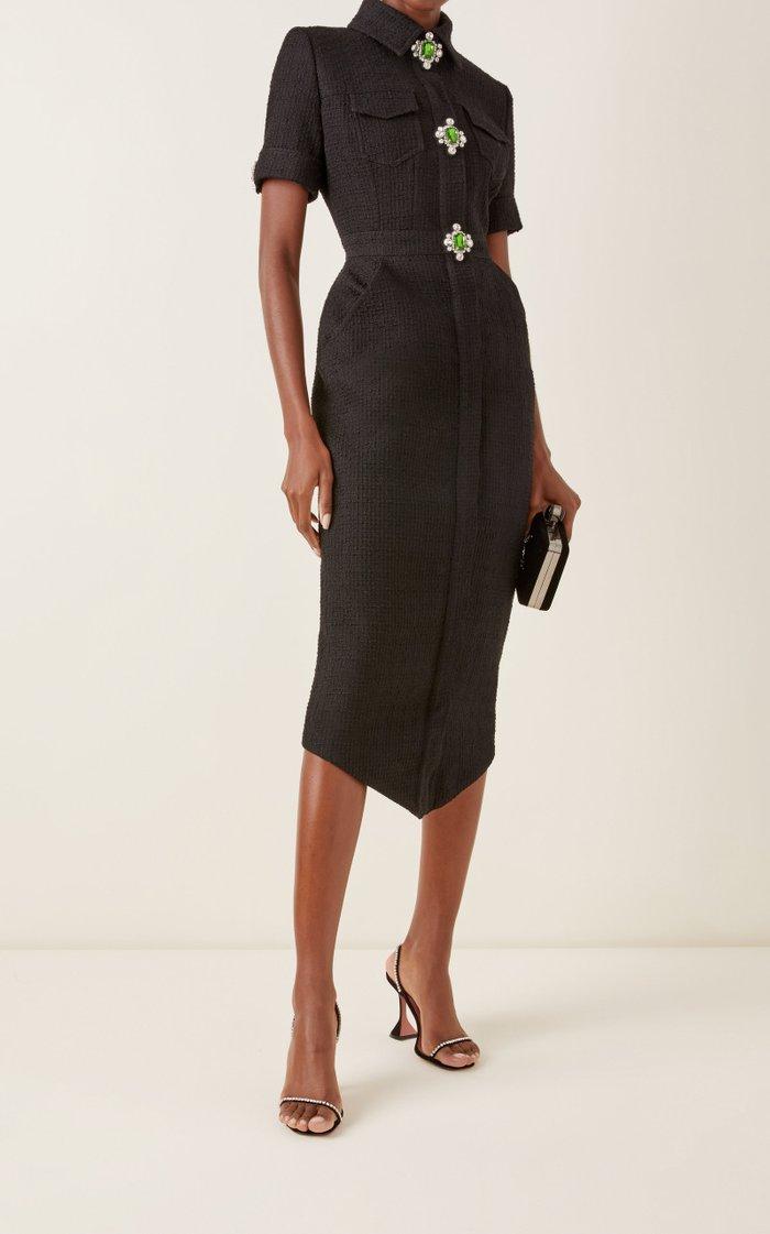 Embellished Wool-Boucle Shirt Dress