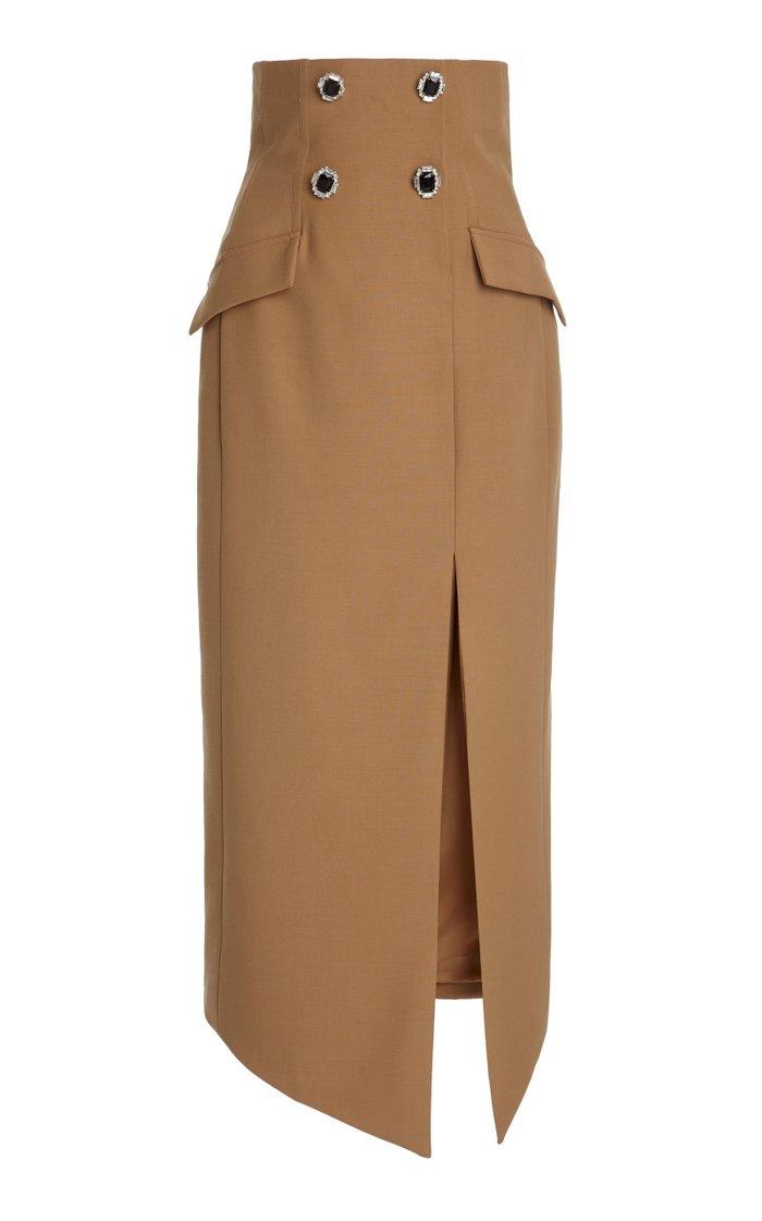 Asymmetric Crystal-Embellished Wool Skirt