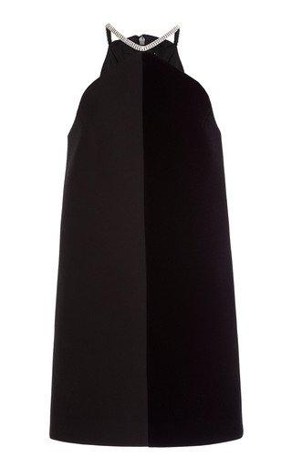 Two-Tone Crystal-Embellished Velvet-Neoprene Dress
