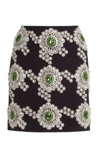 Crystal-Embroidered Cady Mini Skirt