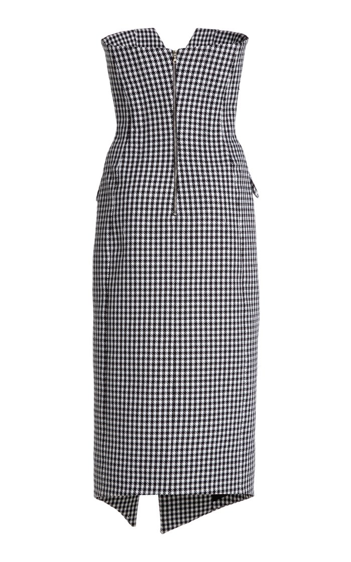 Houndstooth Cotton-Wool Strapless Midi Dress