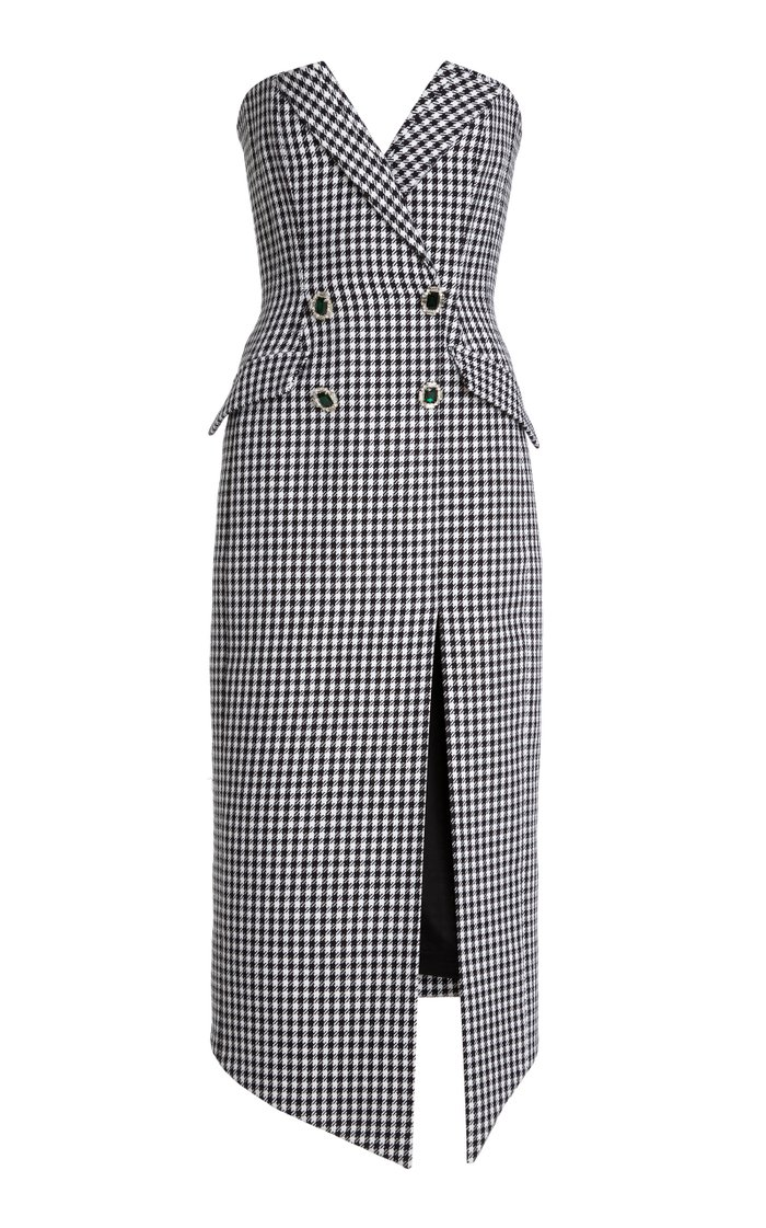 Houndstooth Cotton-Wool Strapless Midi Dress