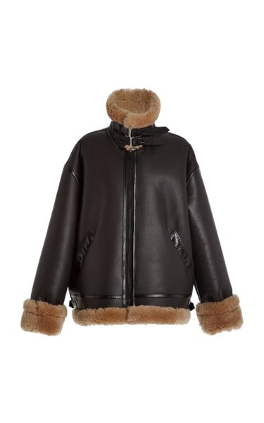 Oversized Shearling-Trimmed Leather Jacket