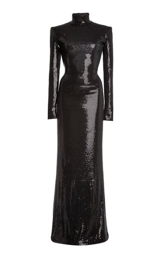 Sequined Jersey Mock-Neck Gown