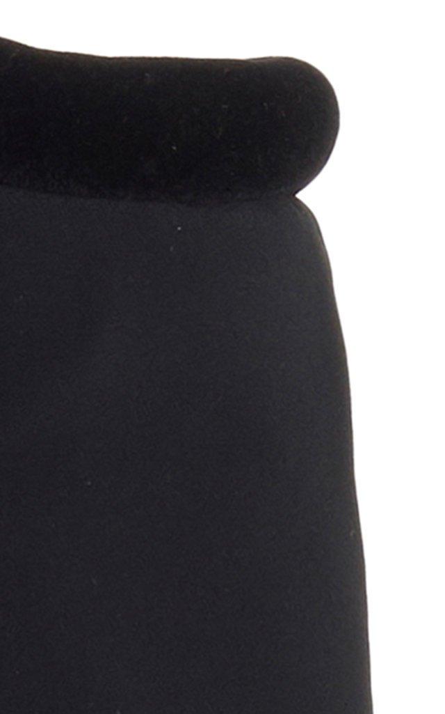 Velvet-Trimmed Neoprene Cropped Top