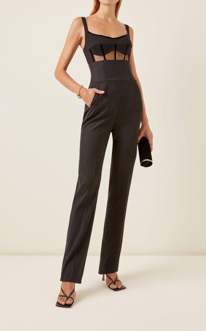 High-Rise Corset Wool Slim Trousers
