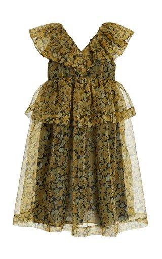 Floral-Print Organza Midi Dress