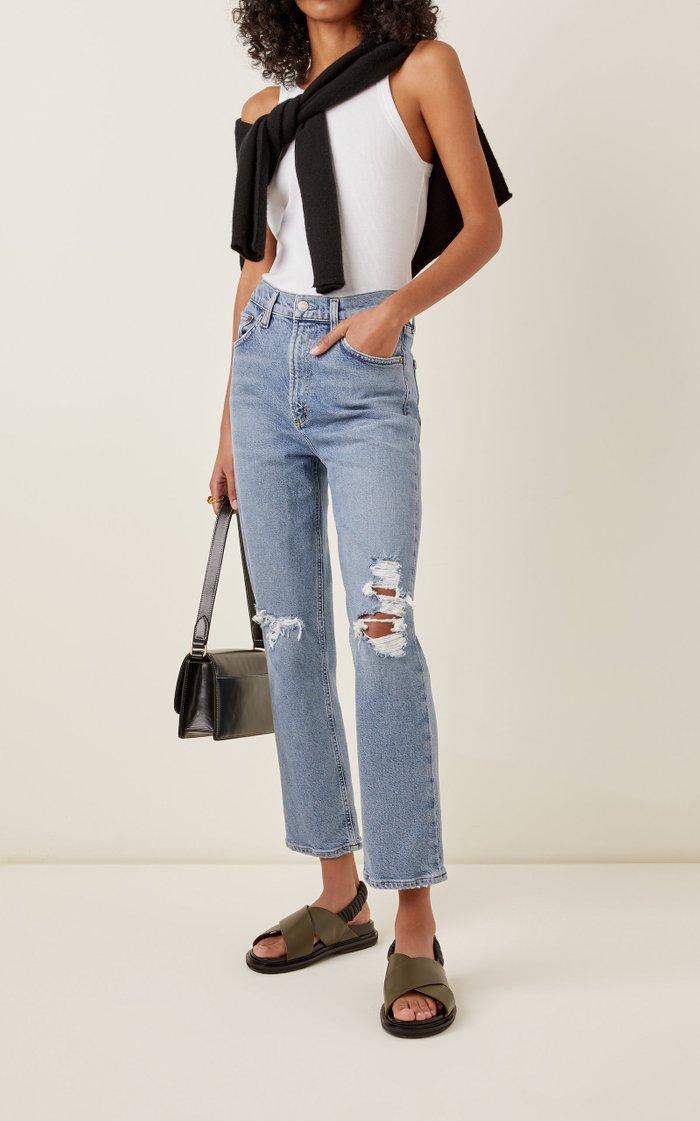 Wilder Stretch Mid-Rise Straight-Leg Jeans