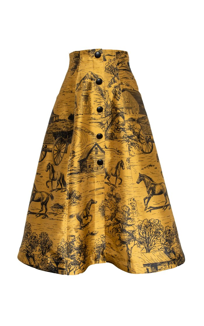 Ecuestre Printed Wool-Silk Skirt