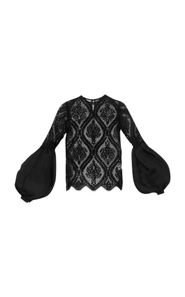 Hipodromo Puffed-Sleeve Lace Blouse