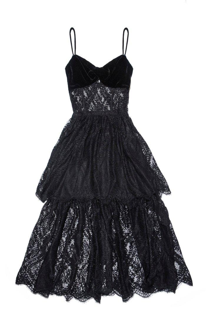 Apalusa Lace-Detailed Chiffon Dress