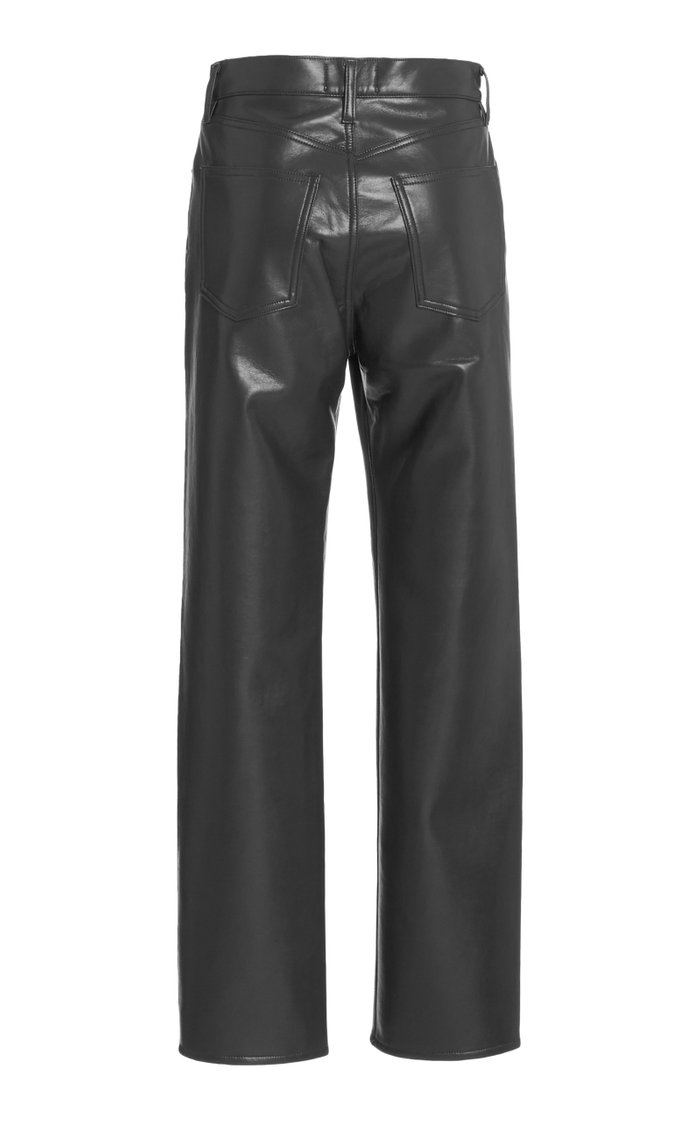 90's High-Rise Straight-Leg Leather Pants