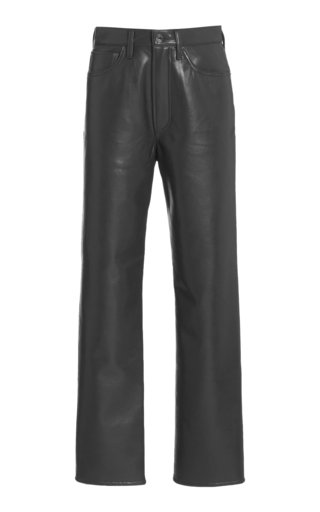 90's High-Rise Recycled Leather Straight-Leg Pants