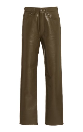 90's High-Rise Straight-Leg Leather Pants