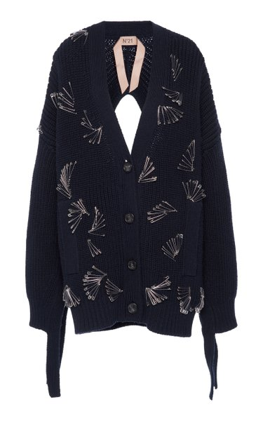 Pin-Embellished Cardigan Sweater