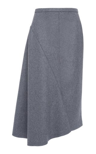 Wool-Blend Asymmetrical Hem Skirt