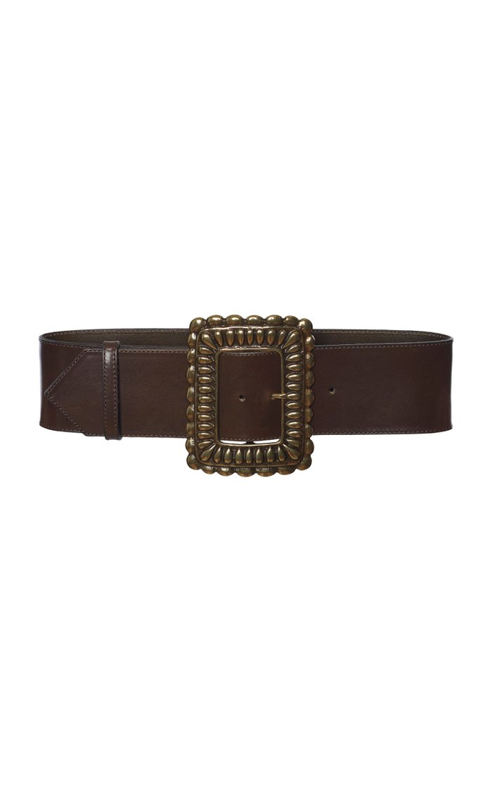 Oversized-Buckle Leather Belt