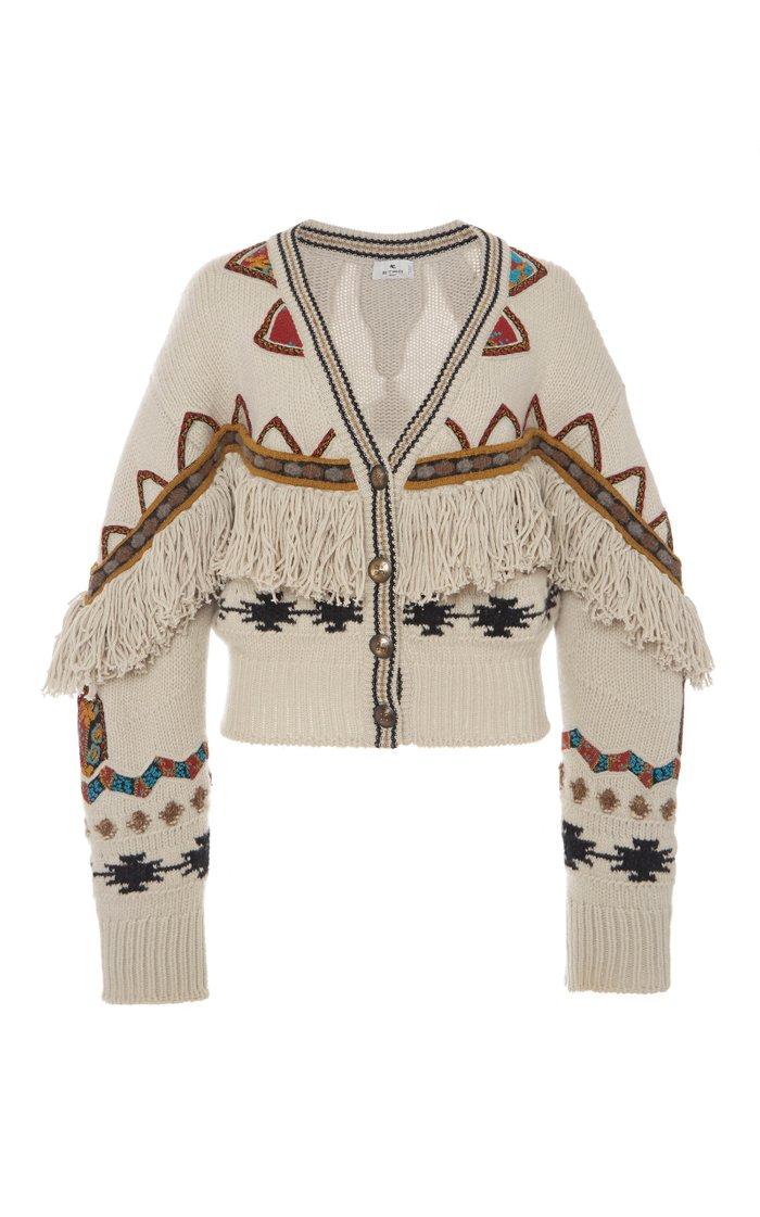 Fringed Wool-Blend Cardigan