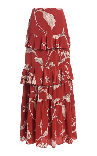 Real Thinking Floral Silk Maxi Skirt