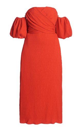 Fine Love Convertible Textured-Crepe Midi Dress