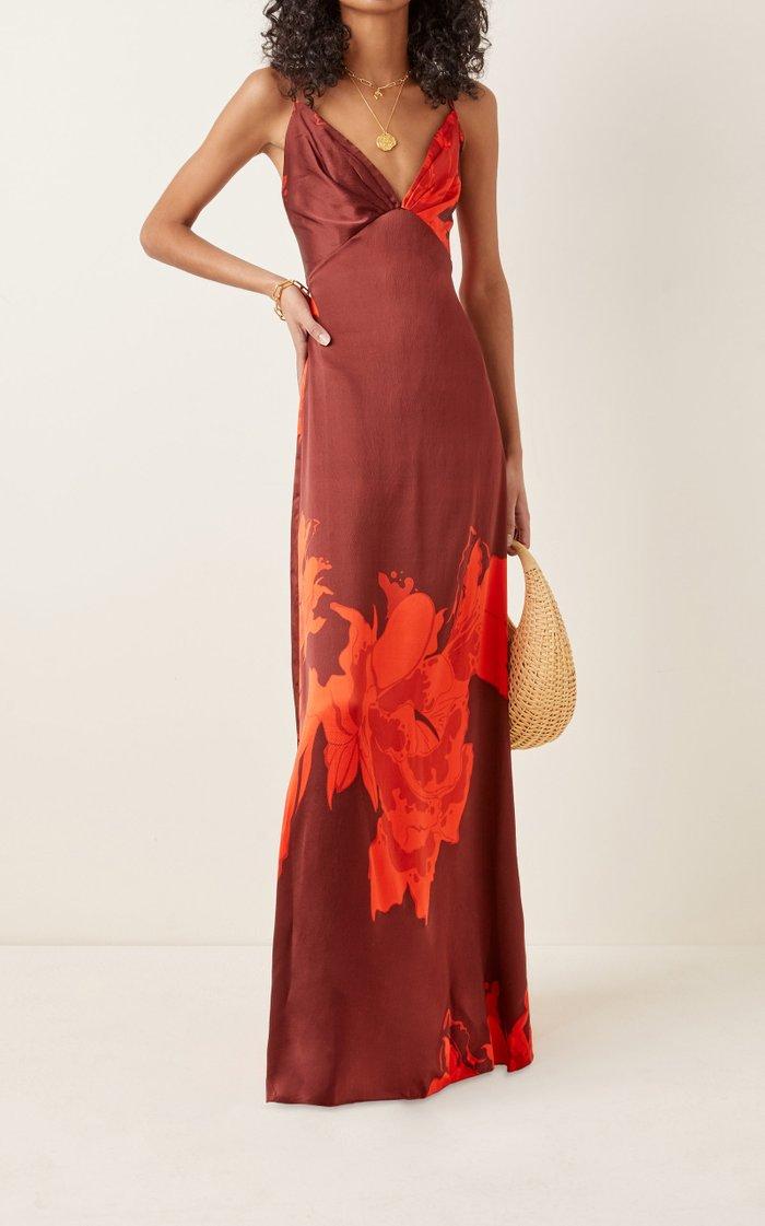 Cartas Olvidadas Convertible Floral Silk Maxi Dress