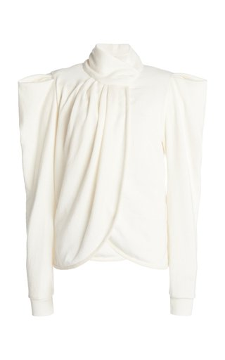 Only Words Puff-Sleeve Draped Knit Top