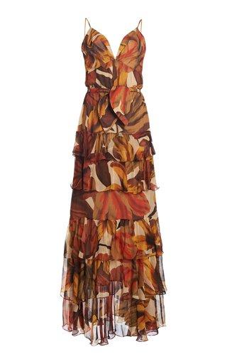 Canto Del Corazon Tiered Floral Georgette Maxi Dress