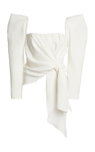 Snowy Texture Draped Crepe Top