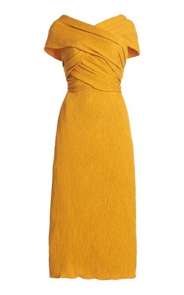 Luna Miel Convertible Textured Crepe Midi Dress