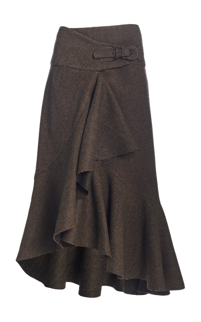 Forever Yours Herringbone Wool Midi Skirt