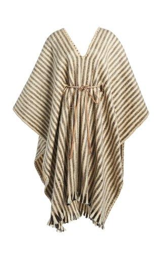 Abrazame A Besos Striped Wool Poncho