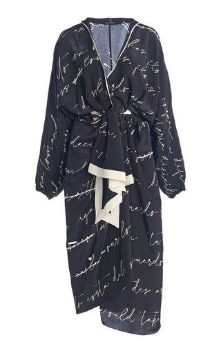 Words Of Love Printed Silk Midi Wrap Dress